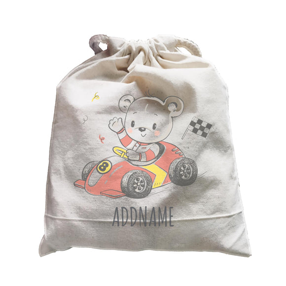 Bear on Go Kart Satchel Personalizable Designs Cute Sweet Animal For Boys HG