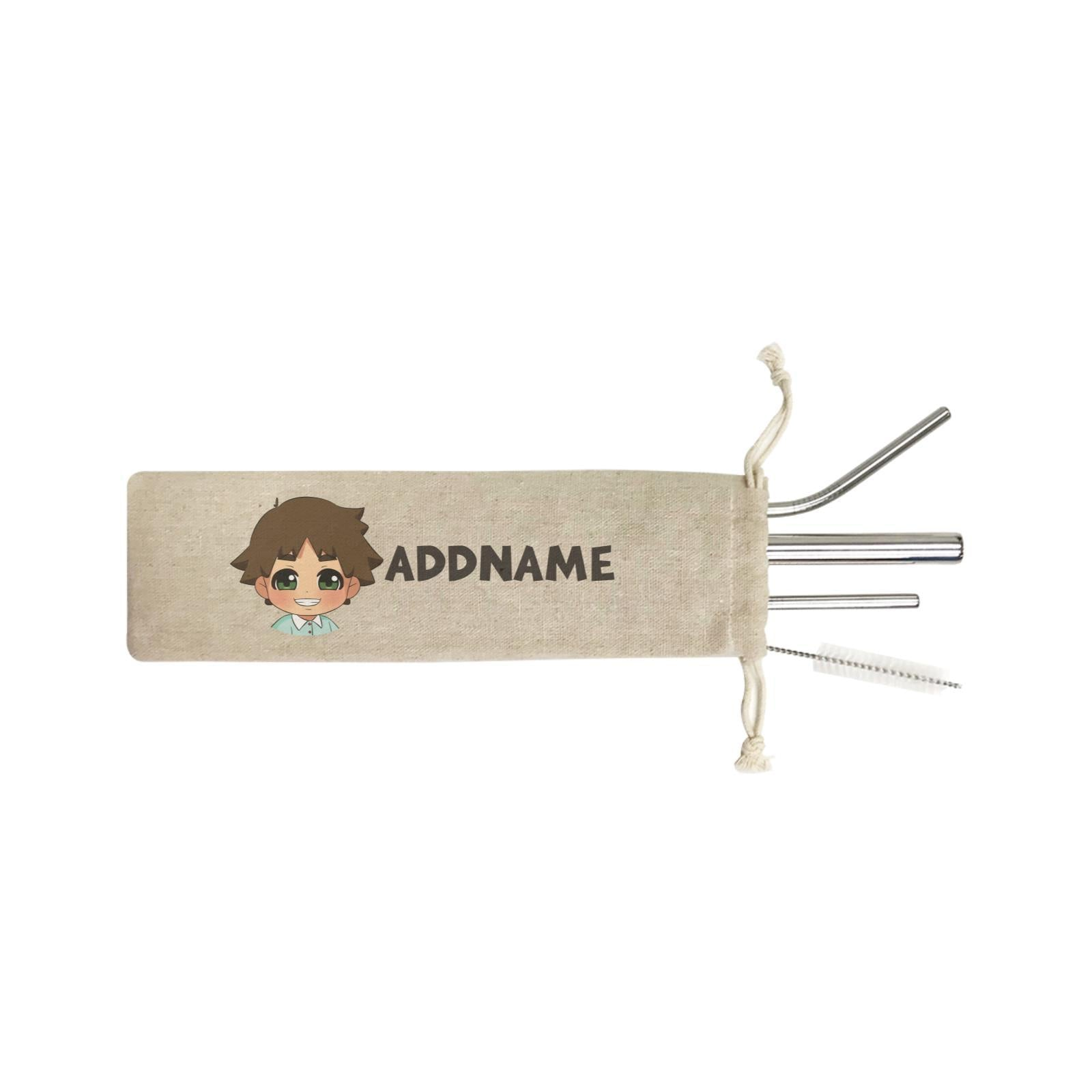Children's Day Gift Series Little Boy Addname SB 4-in-1 Stainless Steel Straw Set In a Satchel
