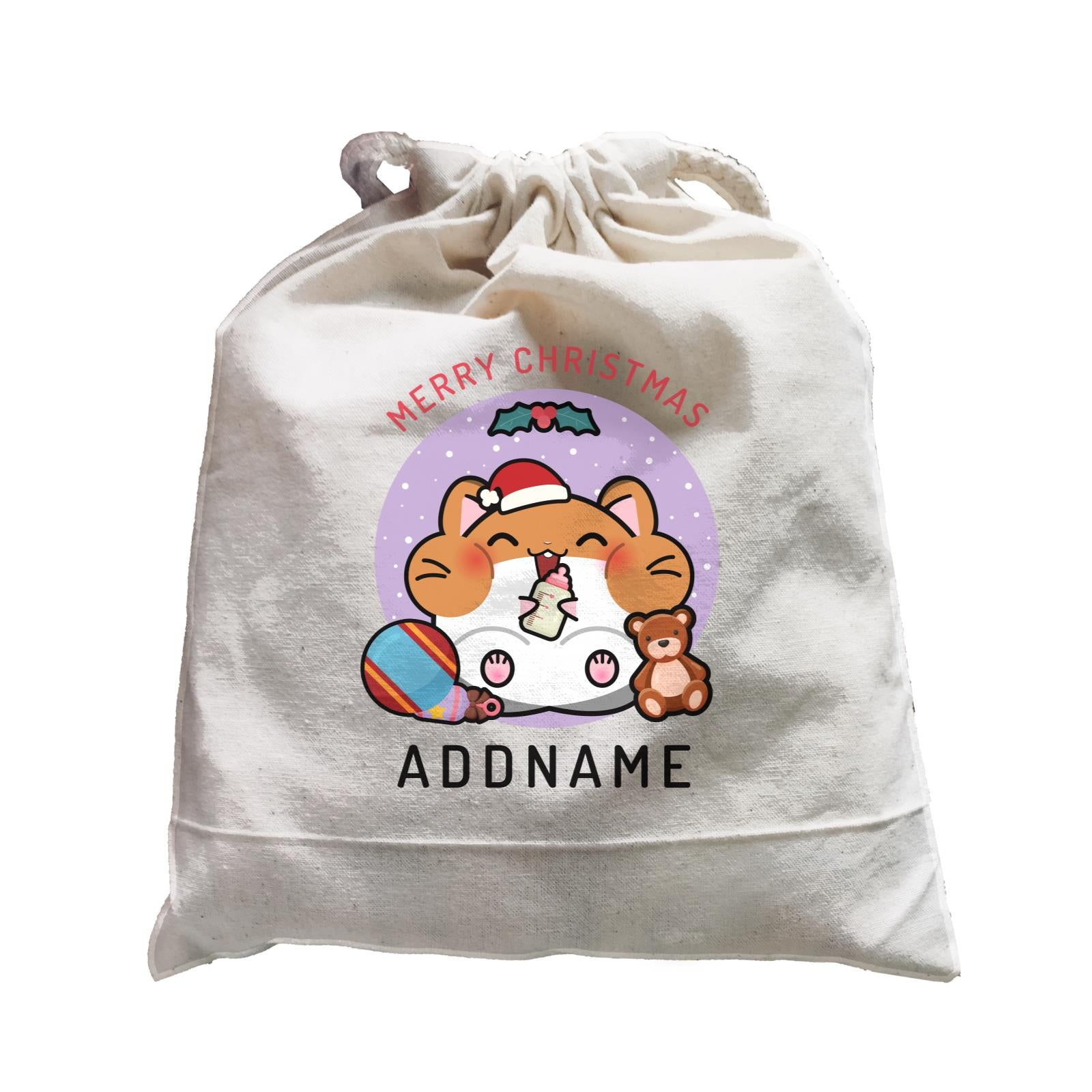 Merry Christmas Cute Santa Baby Hamster Satchel