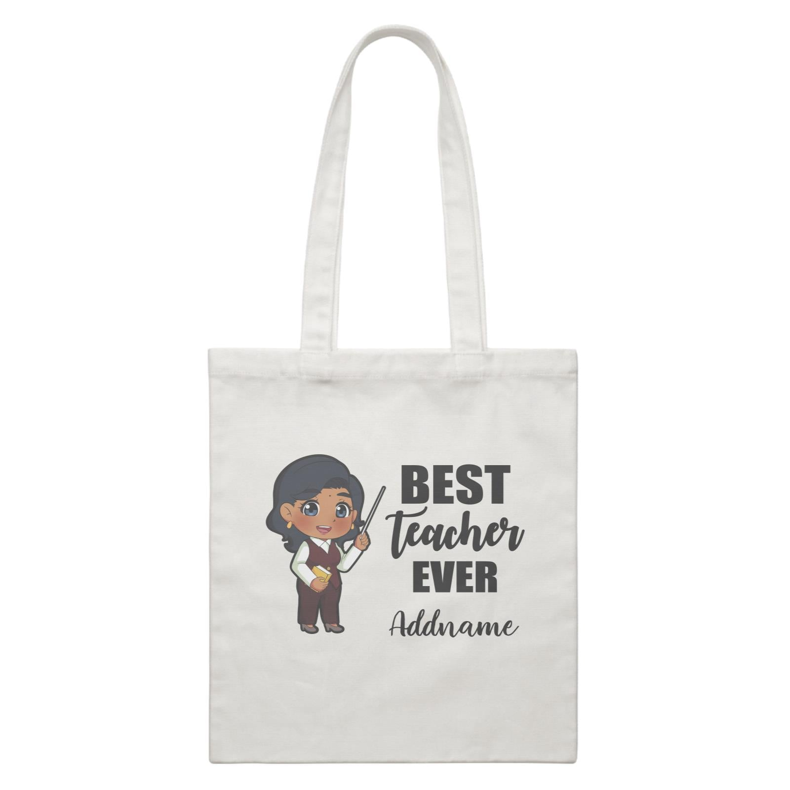 Chibi Teachers Indian Woman Best Teacher Ever Addname White Canvas Bag