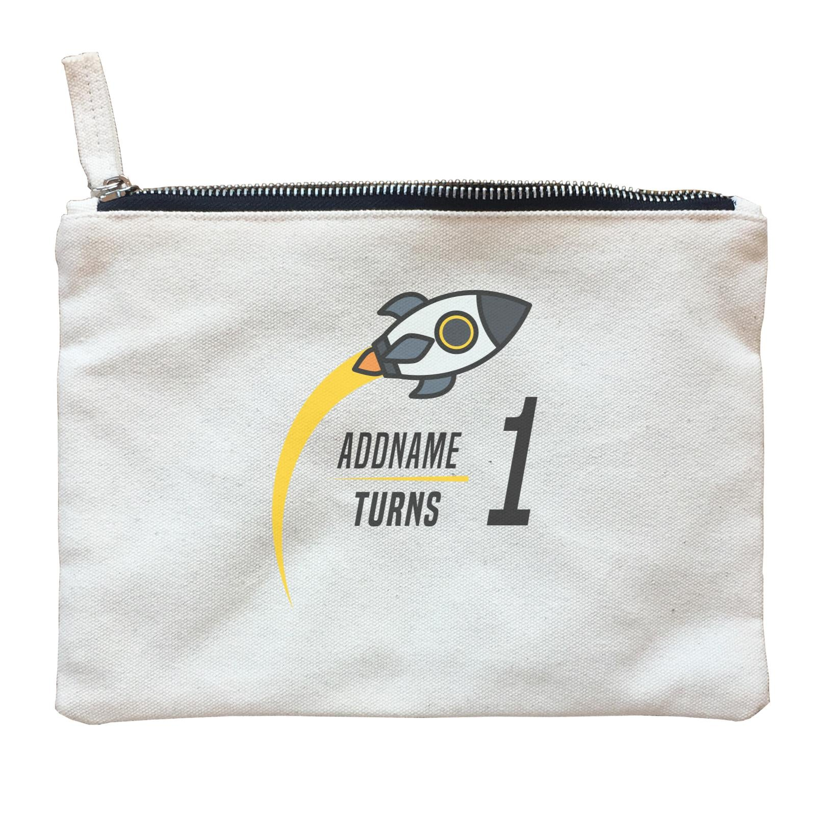 Birthday Flying Rocket To Galaxy Addname Turn 1 Zipper Pouch