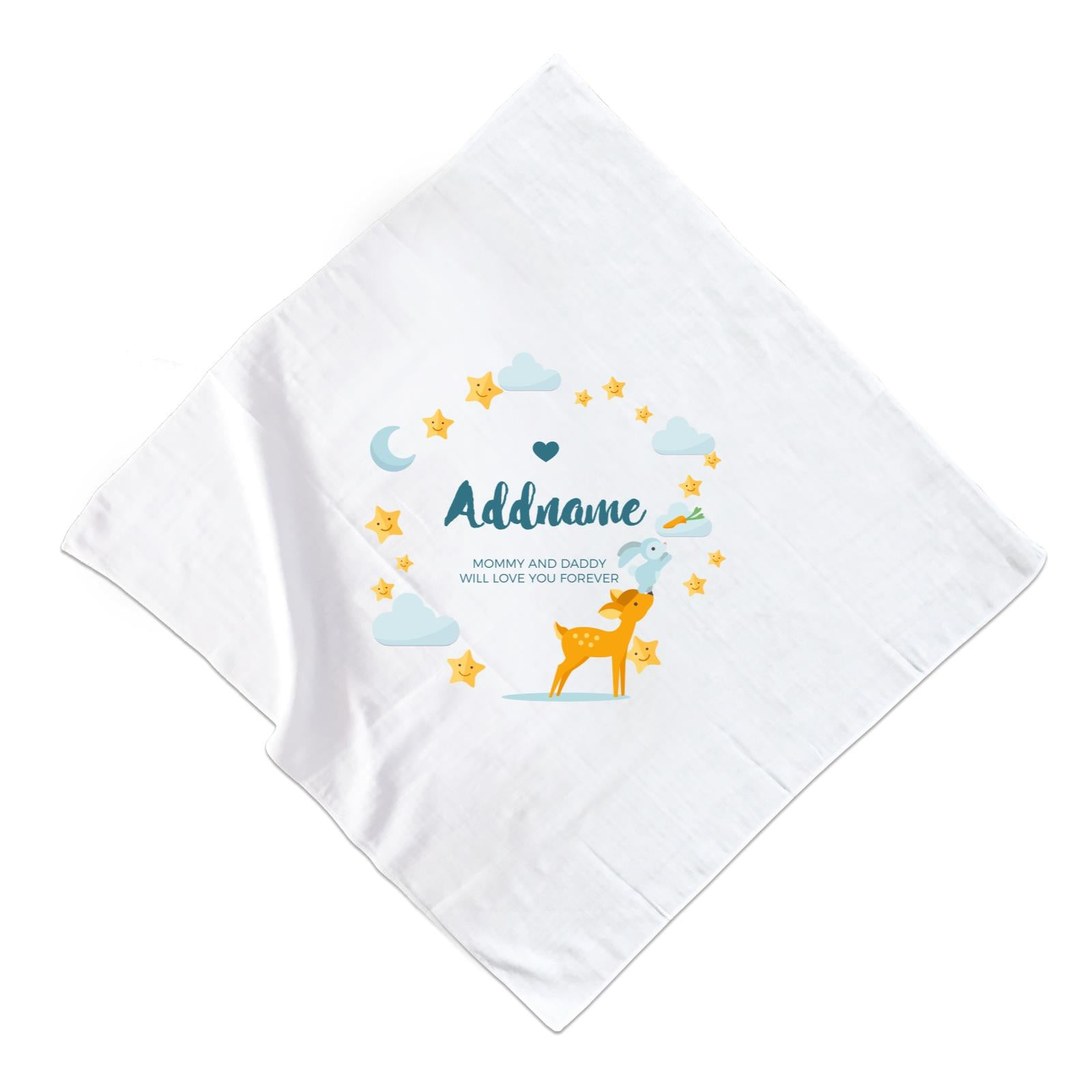 Cute Deer and Rabbit with Star and Moon Elements Personalizable with Name and Text Muslin Square