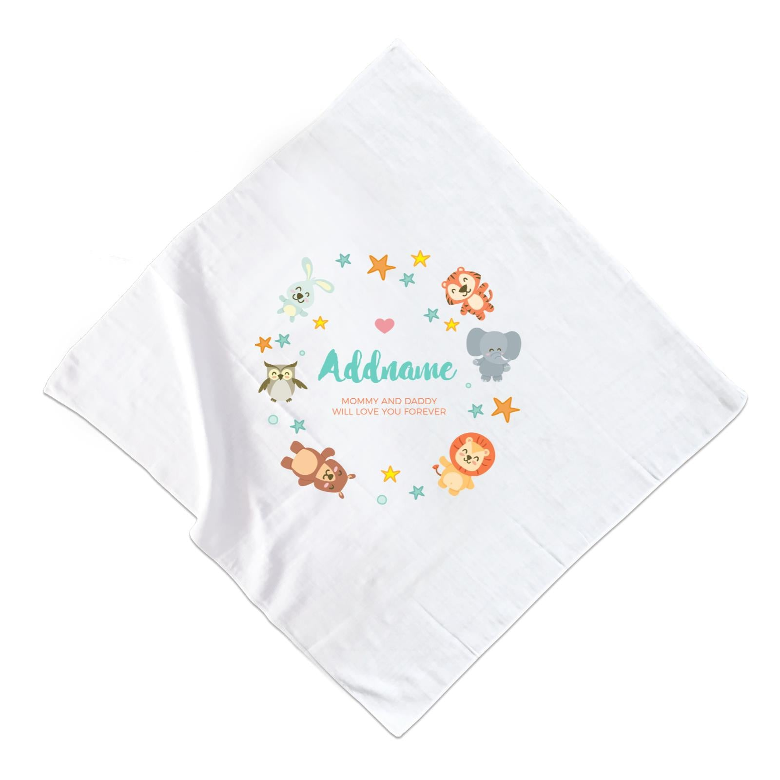 Cute Safari Animals with Stars Element Personalizable with Name and Text Muslin Square