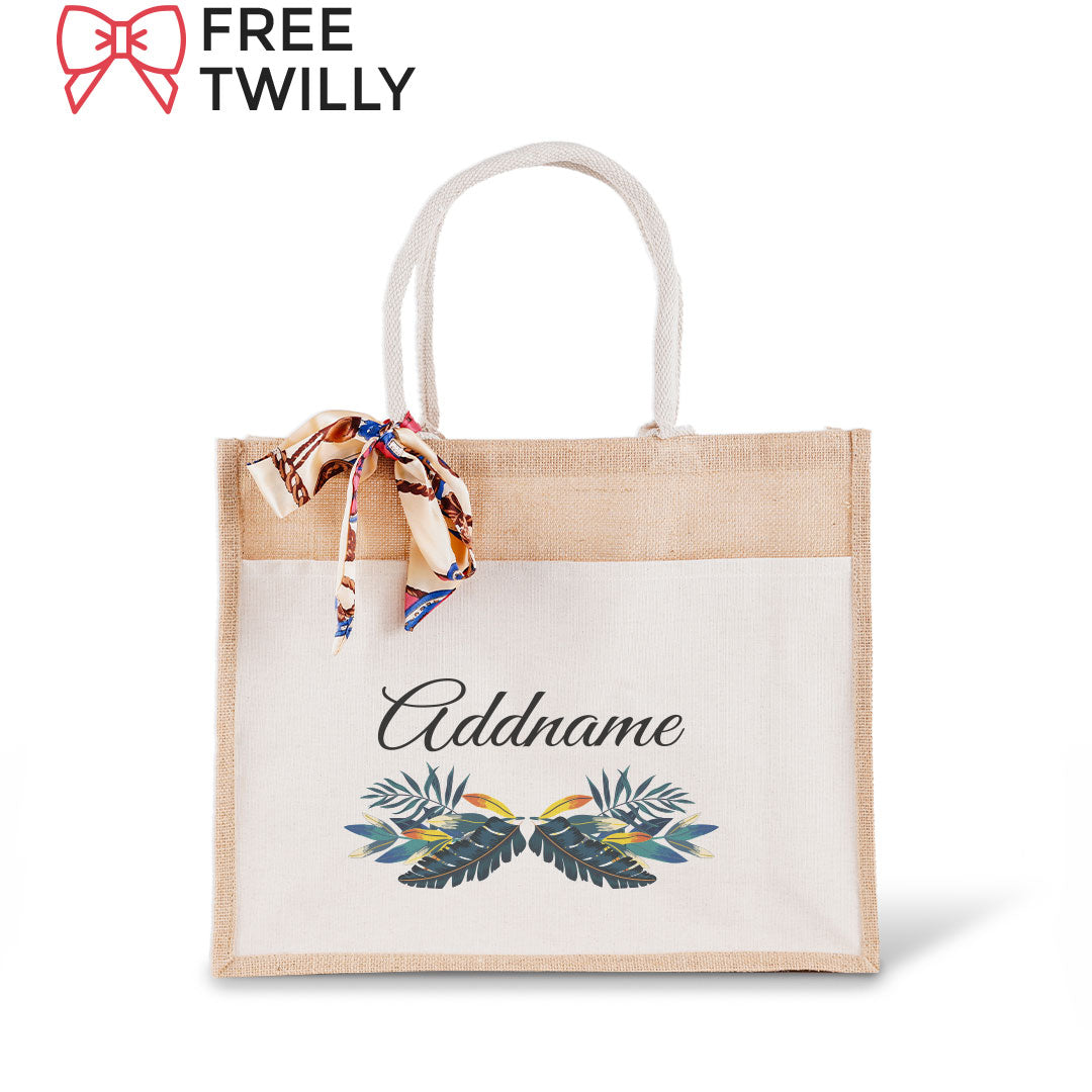 Colorful Leaves Jute Bag with Front Pocket