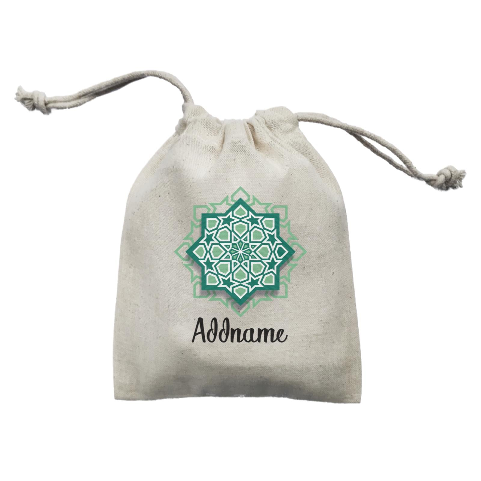 Raya Symbol Green Islamic Geometric Pocket Addname Mini Accessories Mini Pouch