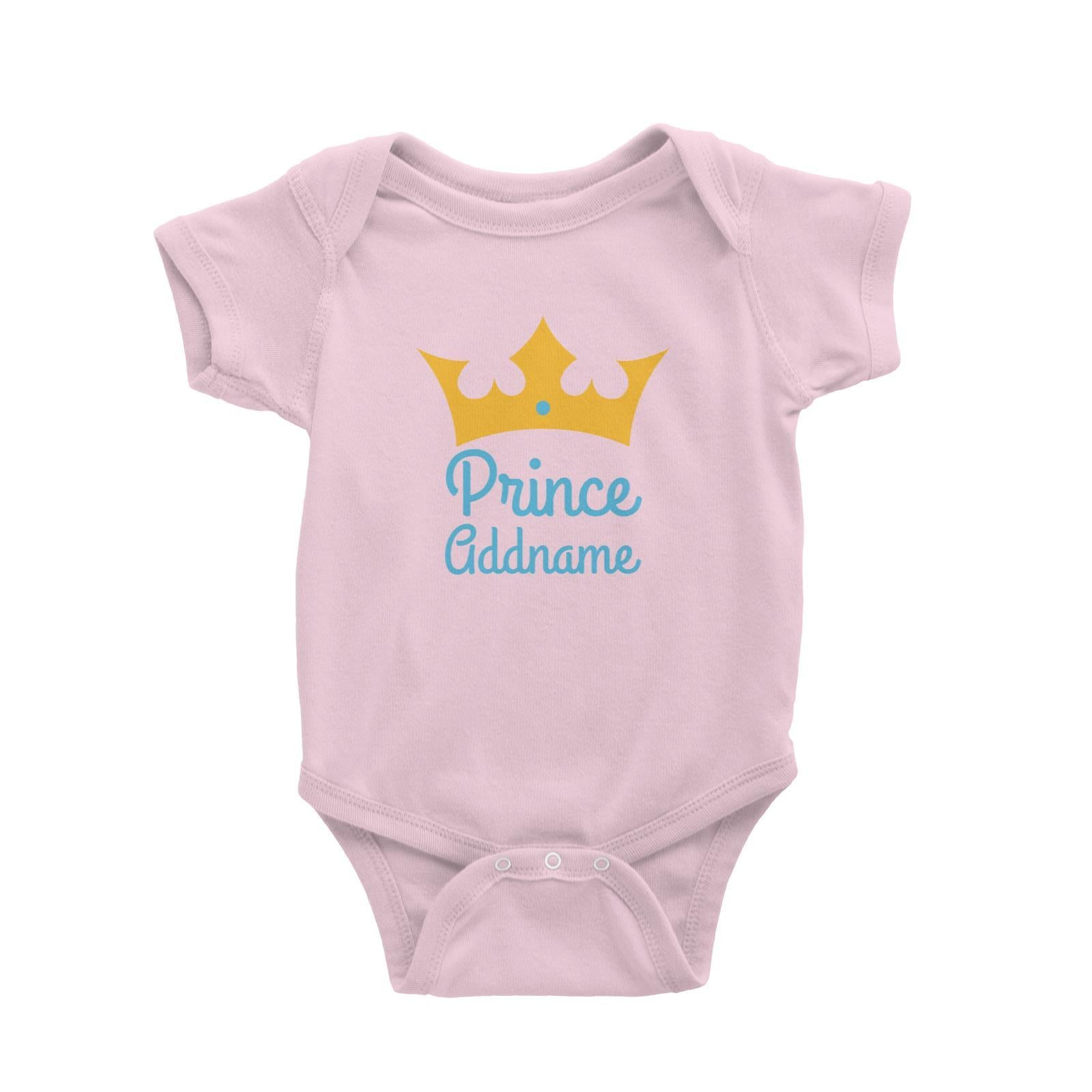 Babywears.my Blue Prince Addname with Crown T-Shirt  For Boys Personalizable Designs