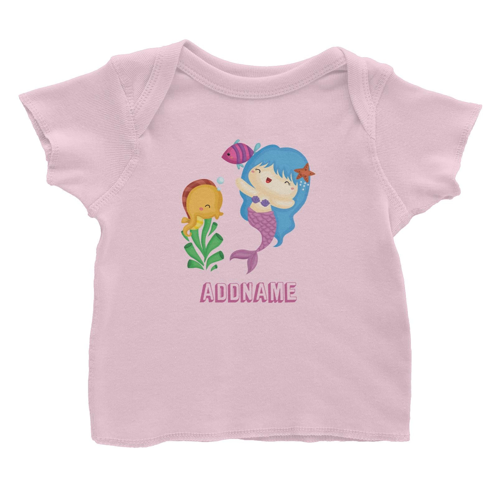 Birthday Mermaid Blue Hair Mermaid Playing With Seahorse Addname Baby T-Shirt