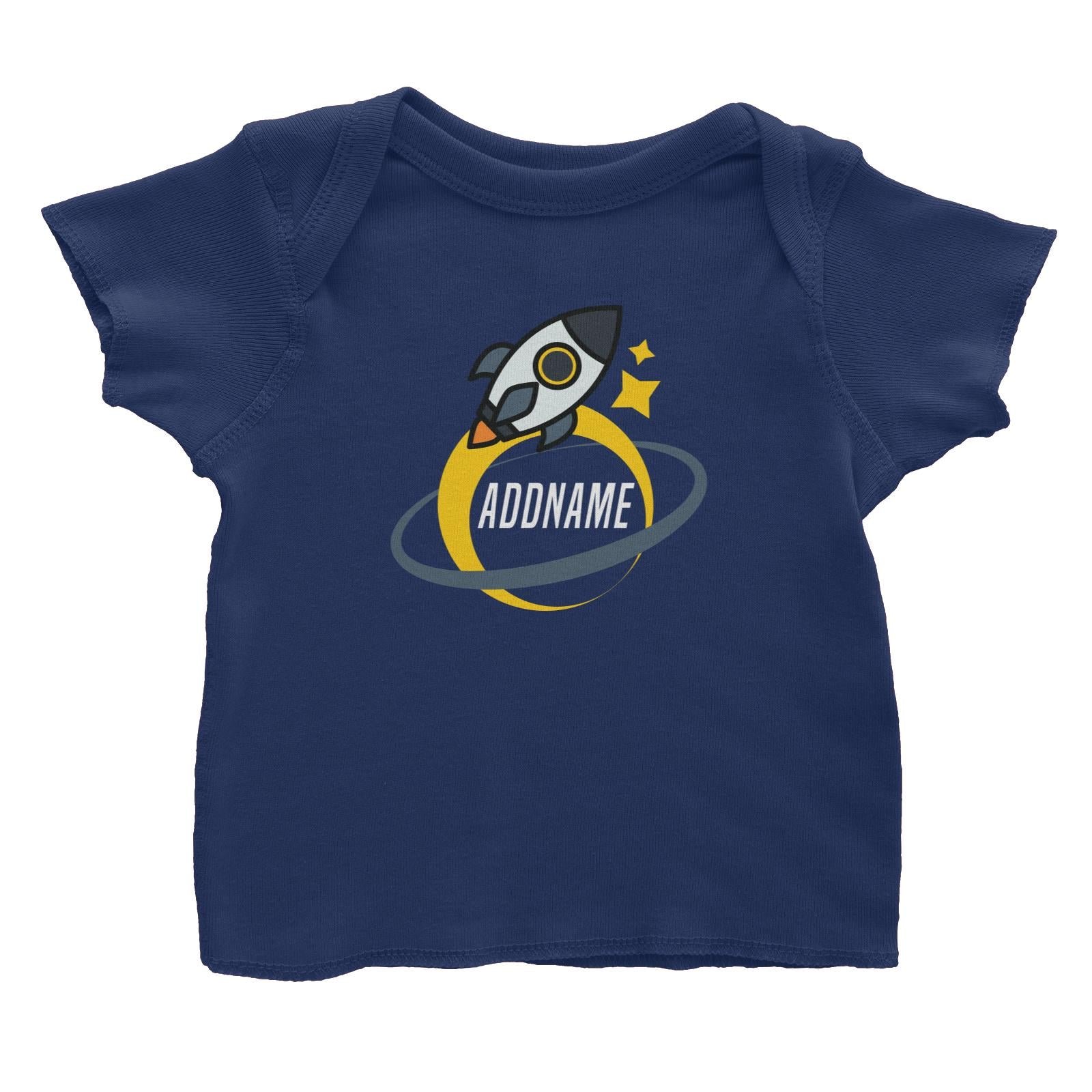 Birthday Rocket To Galaxy Moon And Star Addname Baby T-Shirt