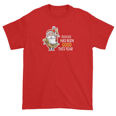 Santa Says Addname Has Been Good This Year Unisex T-Shirt Christmas Matching Family Personalizable Designs Cute