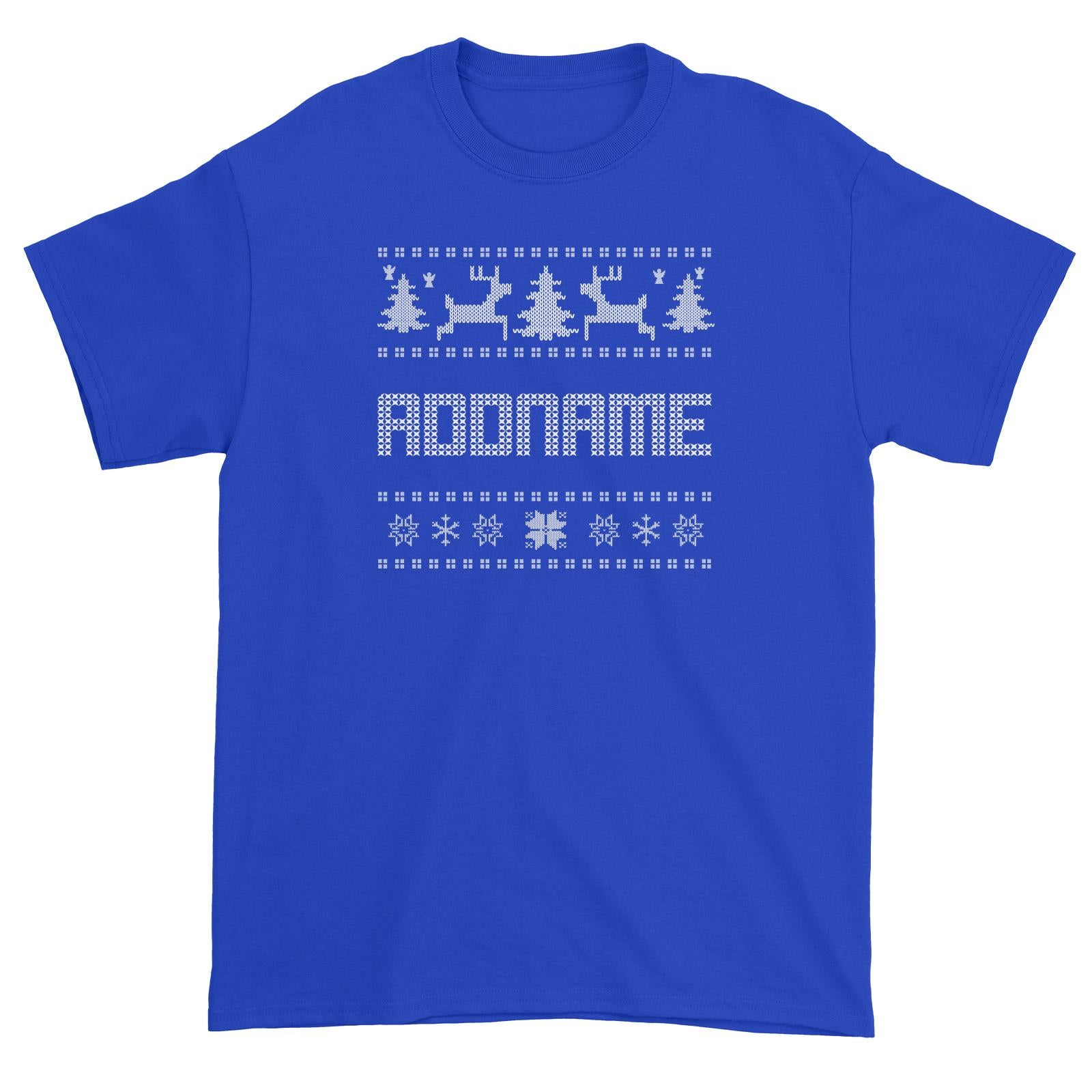 Christmas Sweater Addname Unisex T-Shirt  Matching Family Personalizable Designs