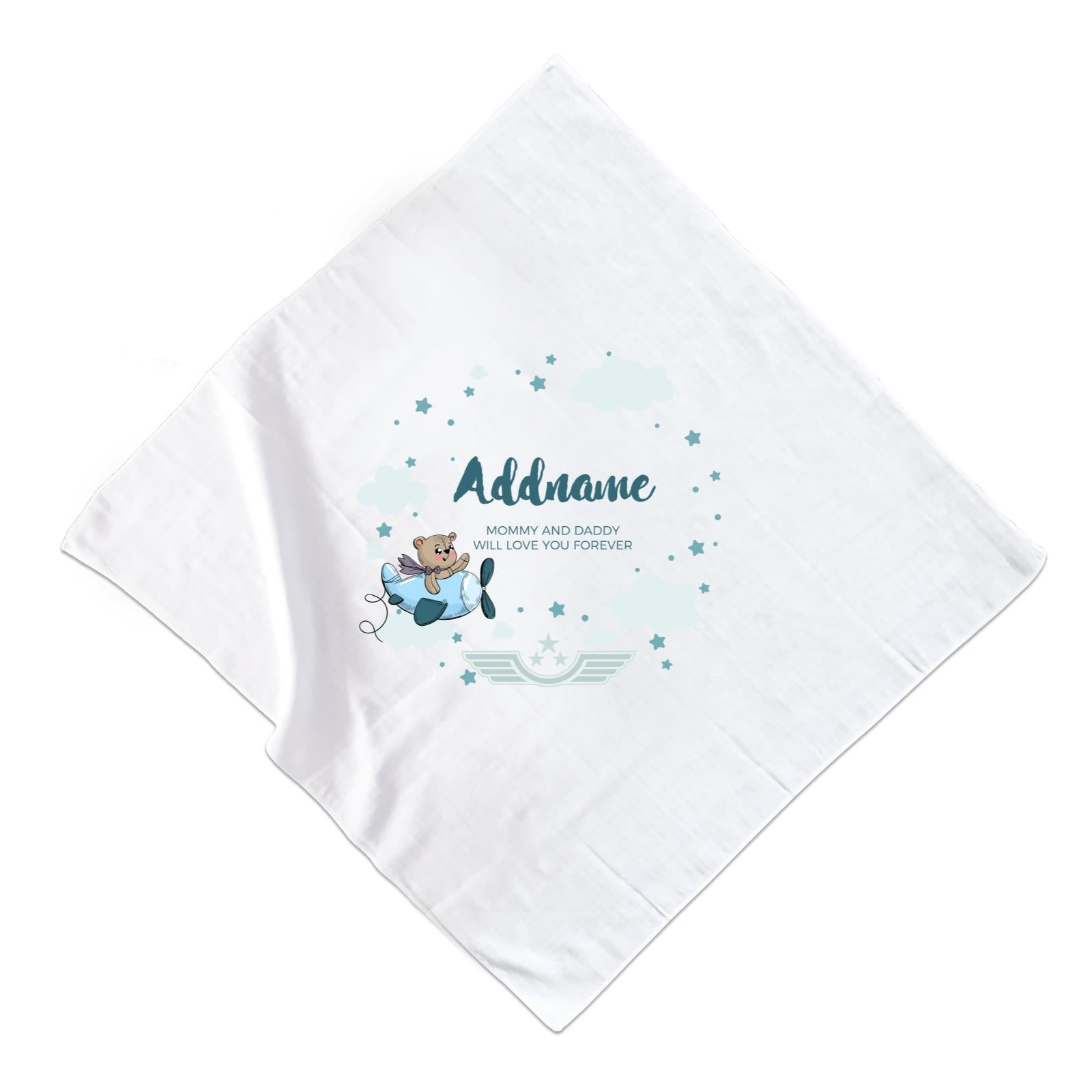 Cute Bear Pilot in Blue Plane Clouds and Stars Element Personalizable with Name and Text Muslin Square