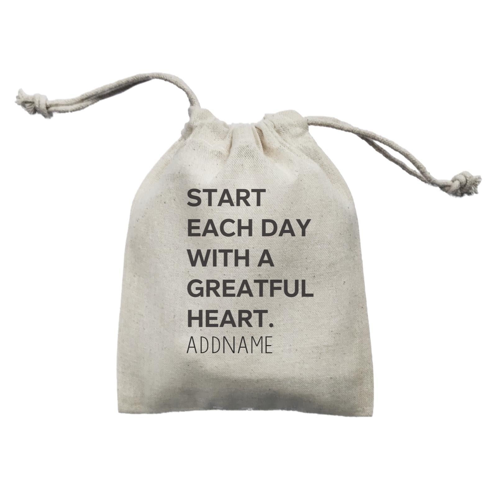 Inspiration Quotes Start Each Day With A Greatful Heart Addname Mini Accessories Mini Pouch