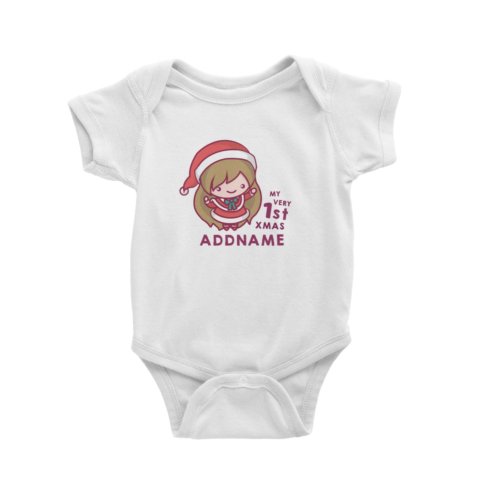 Christmas My Very 1st Santa Girl Addname Baby Romper