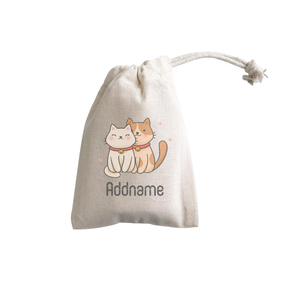 Cute Hand Drawn Style Couple Cat Addname GP Gift Pouch