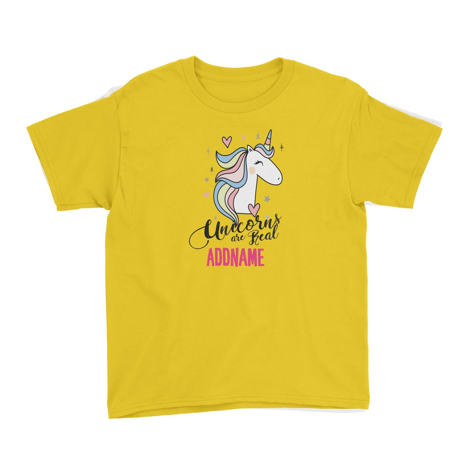 Cool Vibrant Series Unicorns Are Real Addname Kid's T-Shirt
