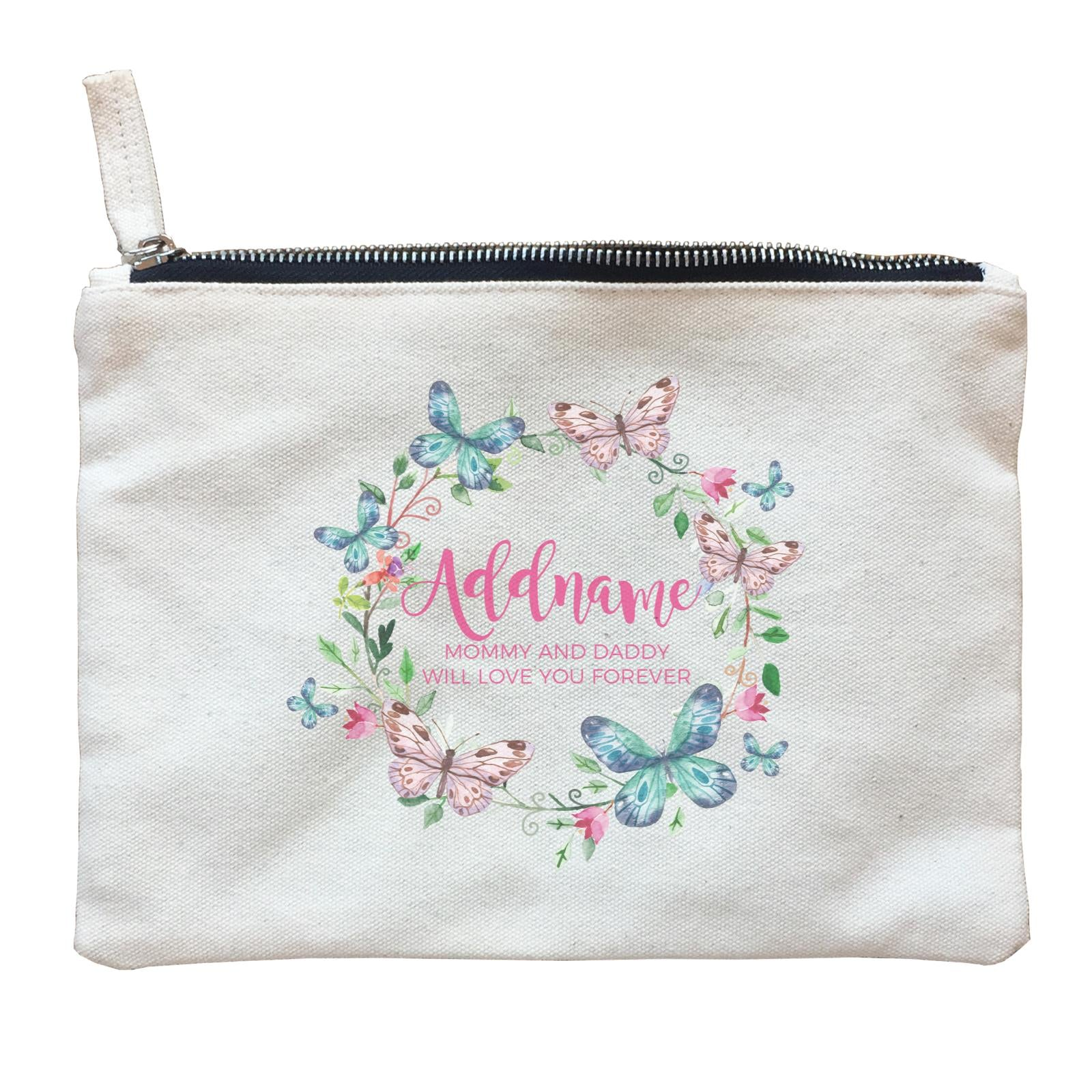 Colourful Butterflies Wreath Personalizable with Name and Text Zipper Pouch