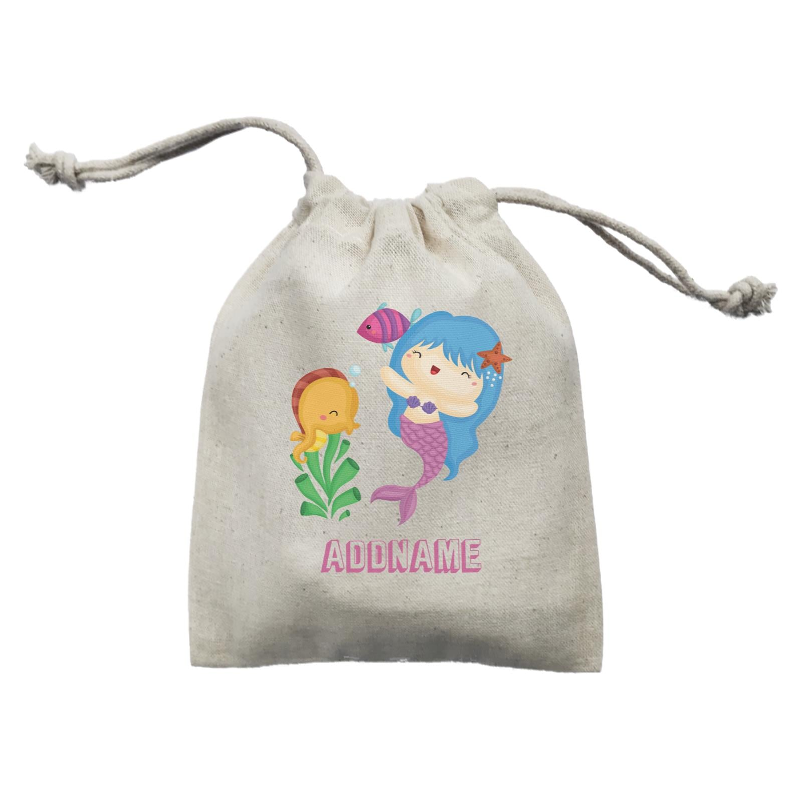 Birthday Mermaid Blue Hair Mermaid Playing With Seahorse Addname Mini Accessories Mini Pouch