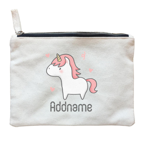 Cute Hand Drawn Style Unicorn Addname Zipper Pouch