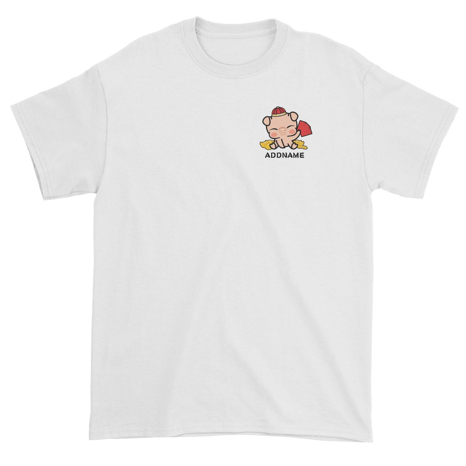 Properity Pig Baby Full Body with Red Packets And Gold Pocket Design Unisex T-Shirt