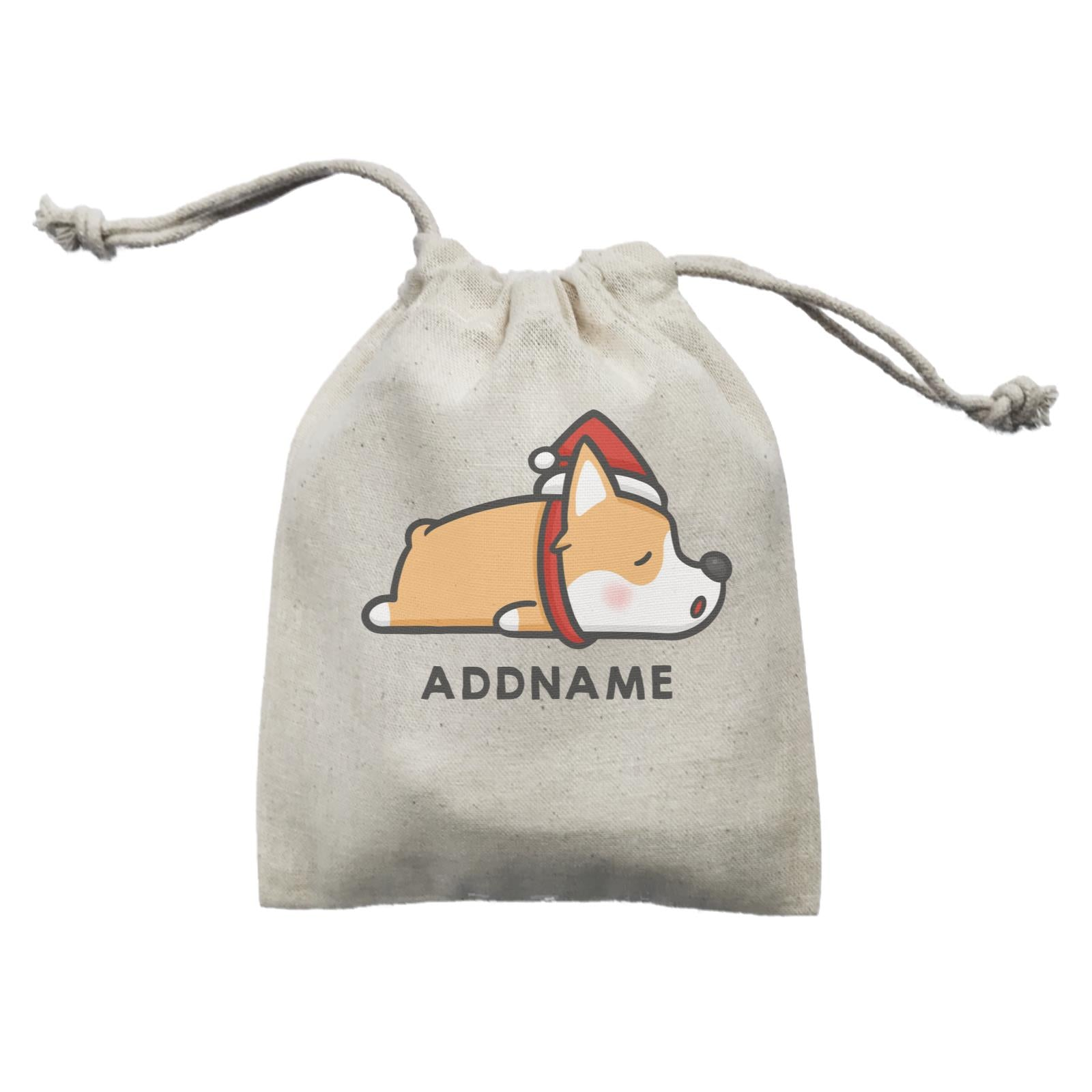 Xmas Cute Sleeping Corgi Addname Mini Accessories Mini Pouch