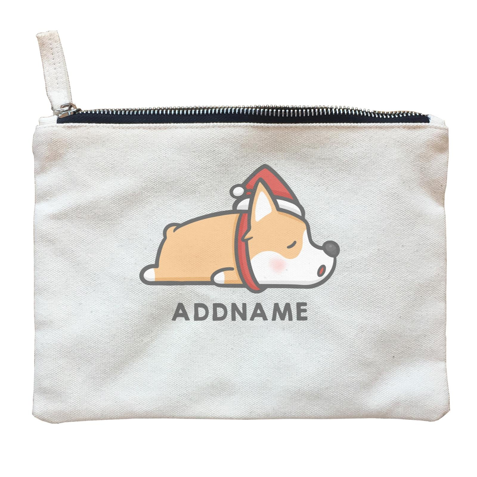 Xmas Cute Sleeping Corgi Addname Accessories Zipper Pouch