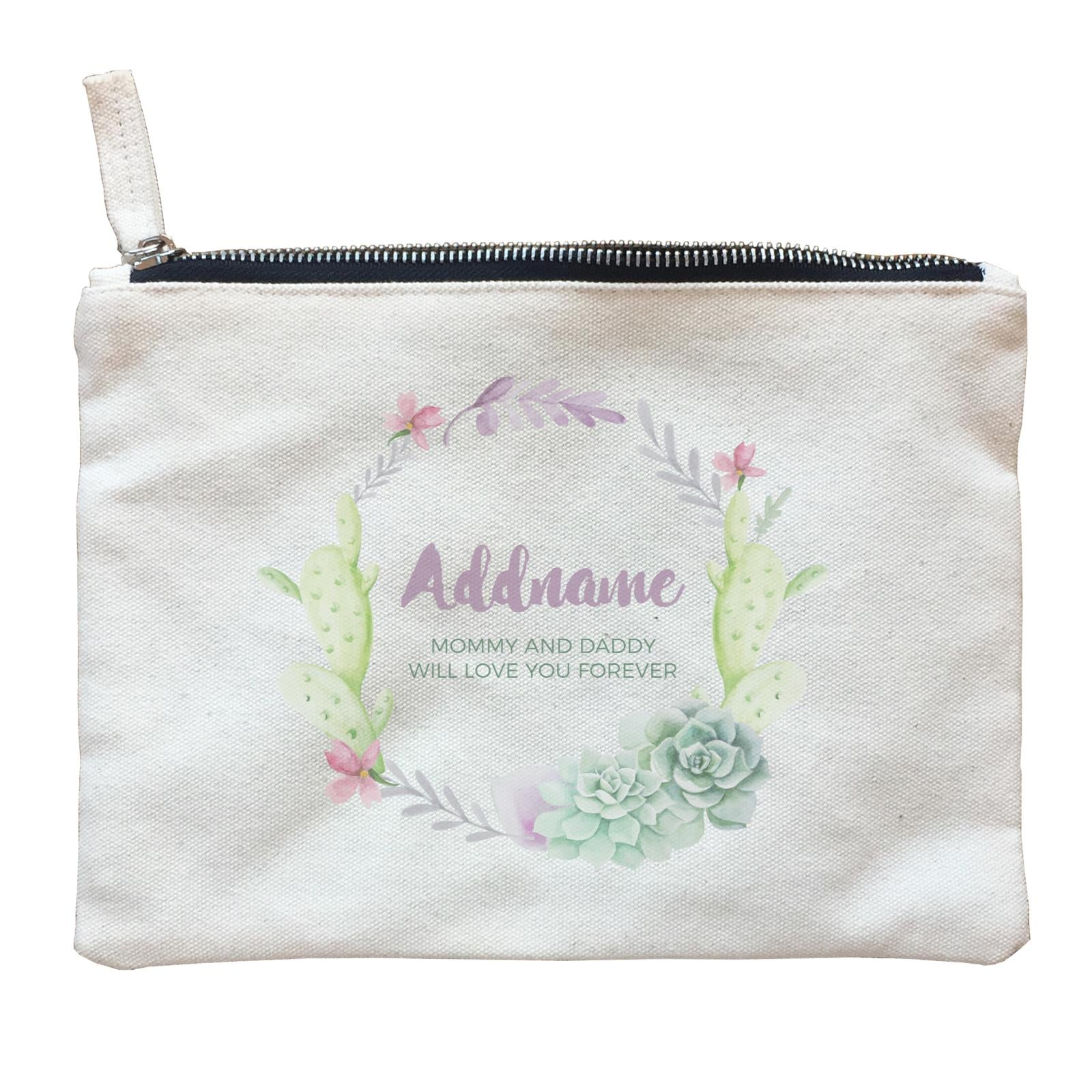 Succulent Wreath Personalizable with Name and Text Zipper Pouch