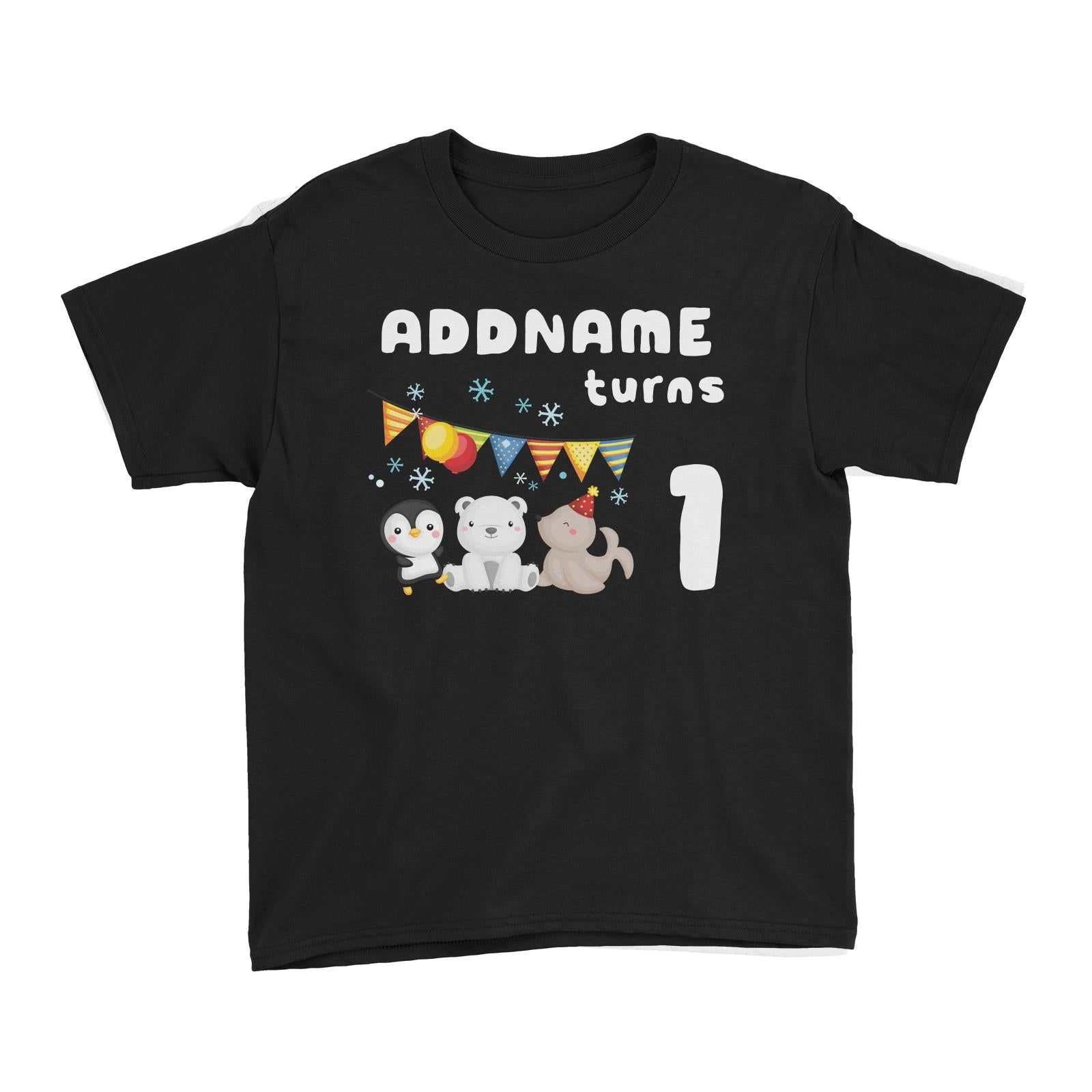 Birthday Winter Animals Penguin Polar Bear And Seal Party Addname Turns 1 Kid's T-Shirt