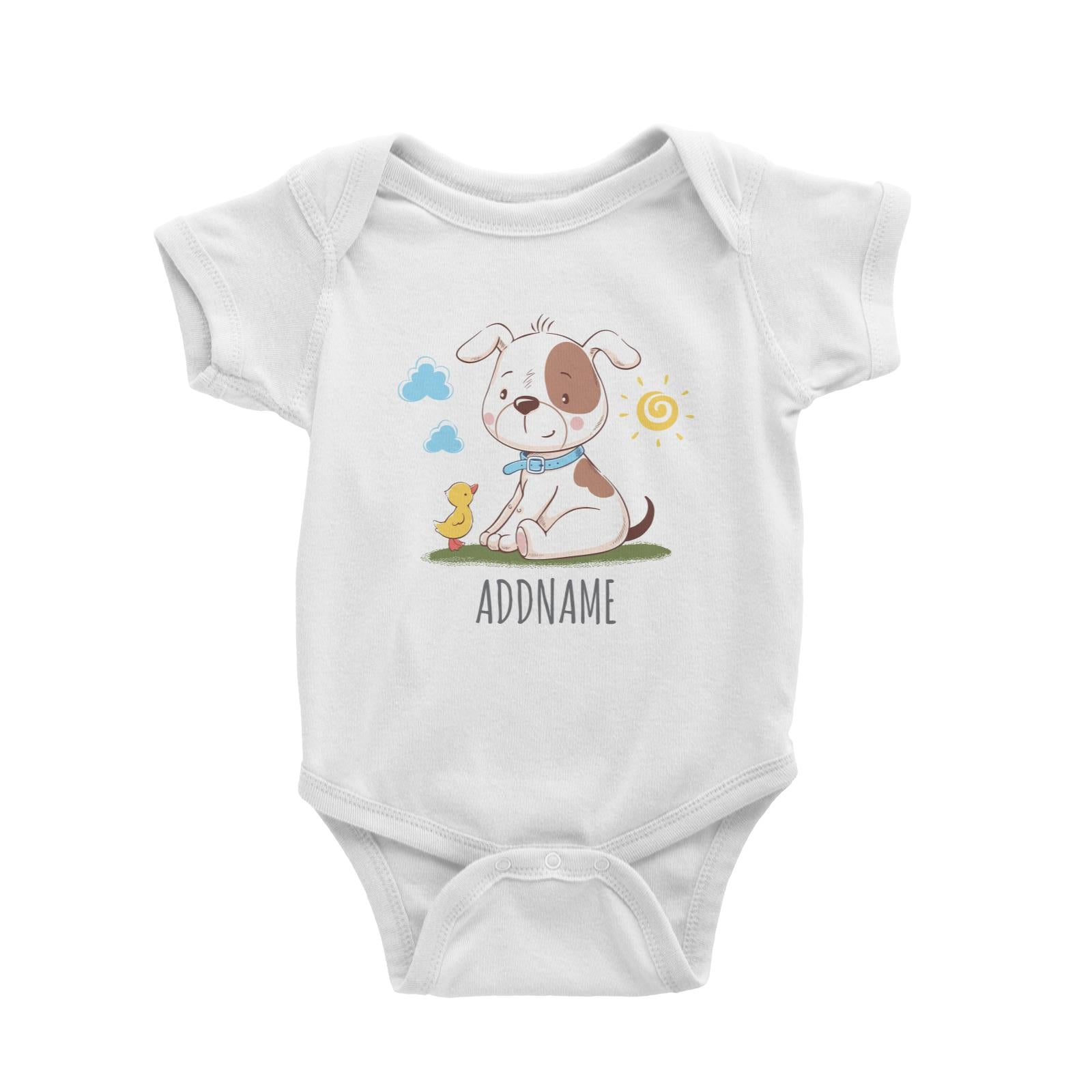 Dog with Duck White Baby Romper Personalizable Designs Cute Sweet Animal HG