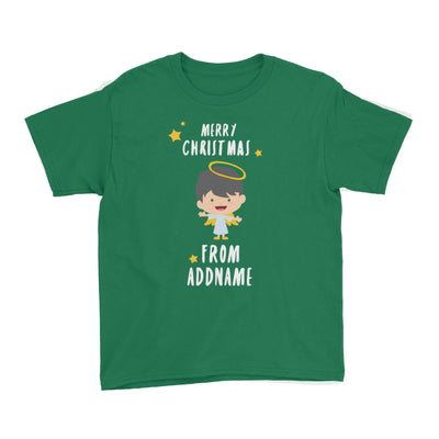 Cute Boy Angel Merry Christmas Addname Kid's T-Shirt  Personalizable Designs Matching Family