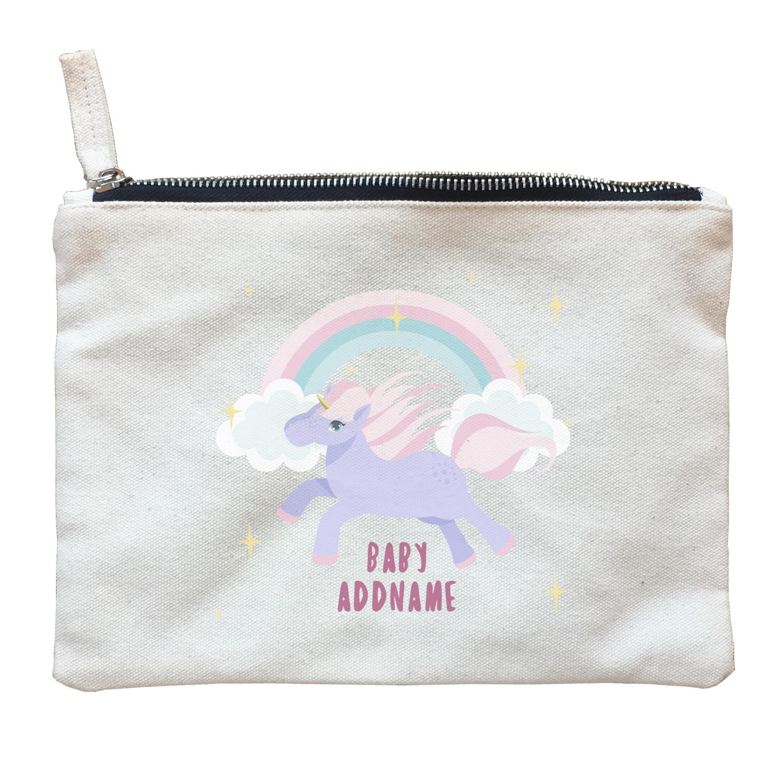 Purple Unicorn Galloping with Rainbow and Baby Addname Zipper Pouch