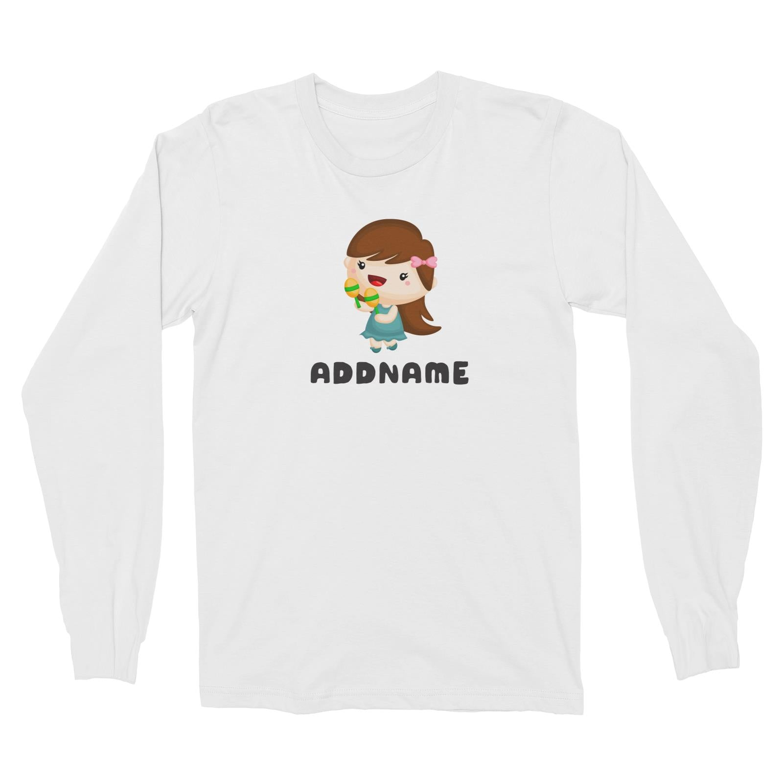 Birthday Music Band Girl Playing Maracas Addname Long Sleeve Unisex T-Shirt