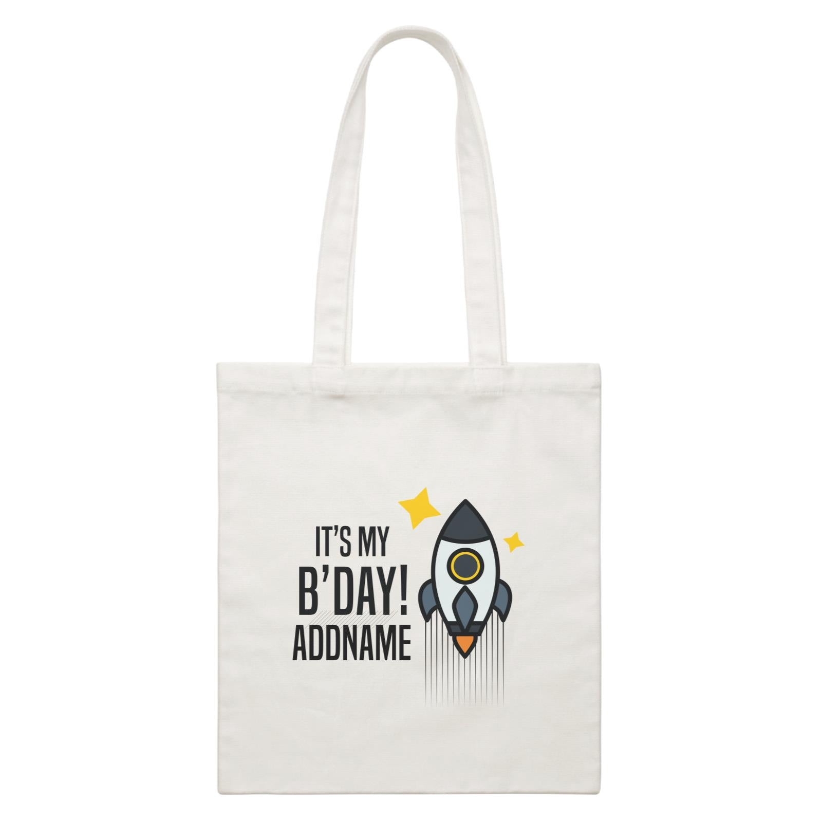 Birthday Flying Rocket To Galaxy It's My B'day Addname White Canvas Bag