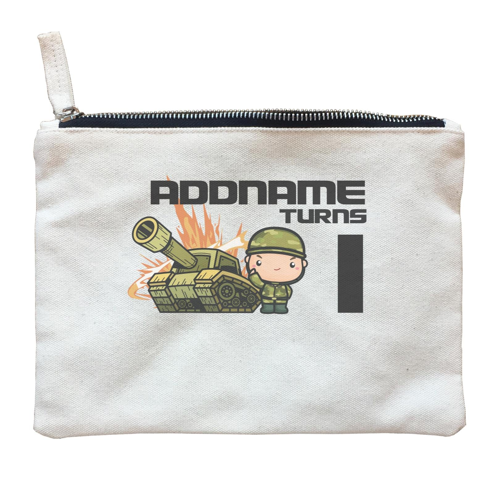Birthday Battle Theme Tank And Army Soldier Boy Addname Turns 1 Zipper Pouch