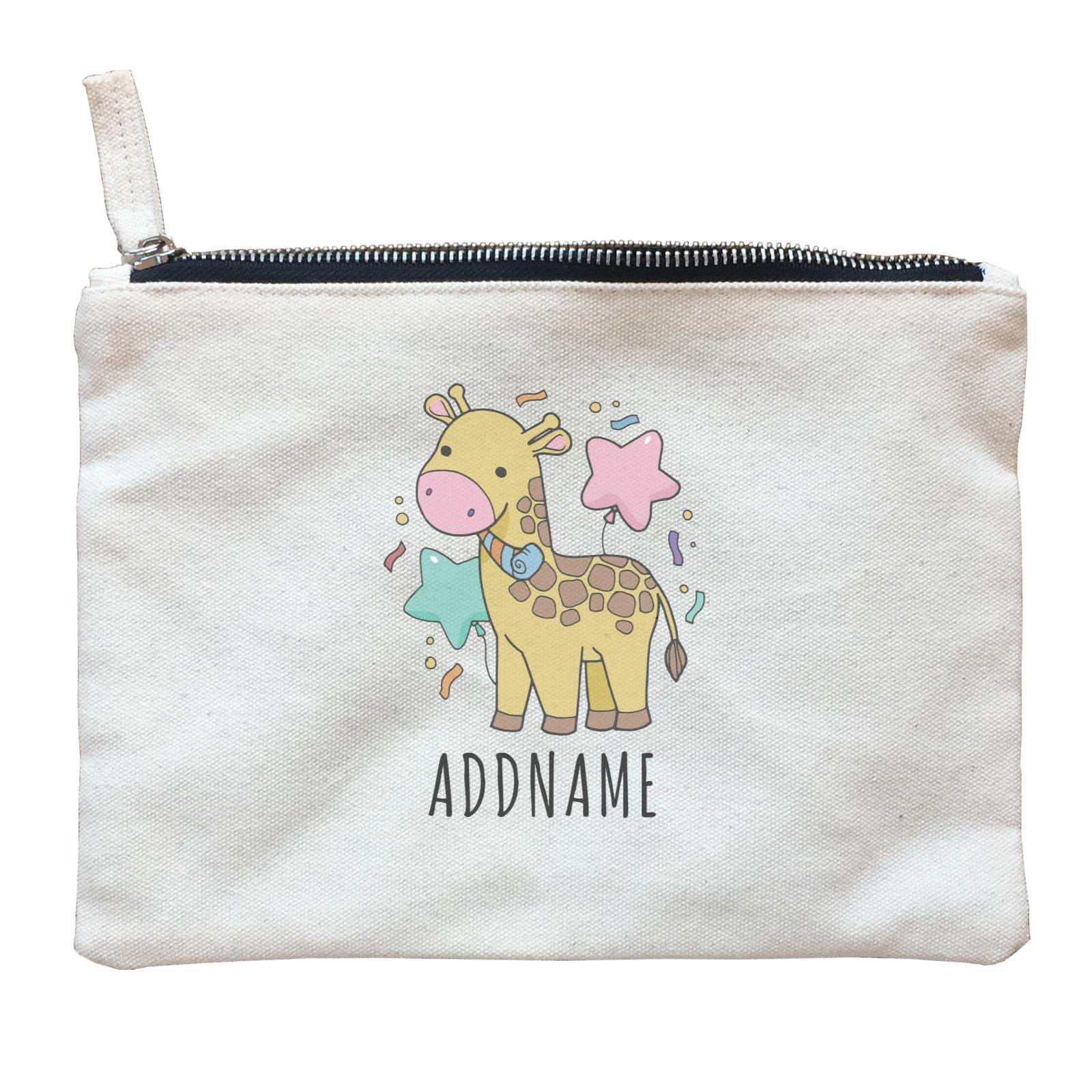 Birthday Sketch Animals Giraffe with Party Horn Addname Zipper Pouch