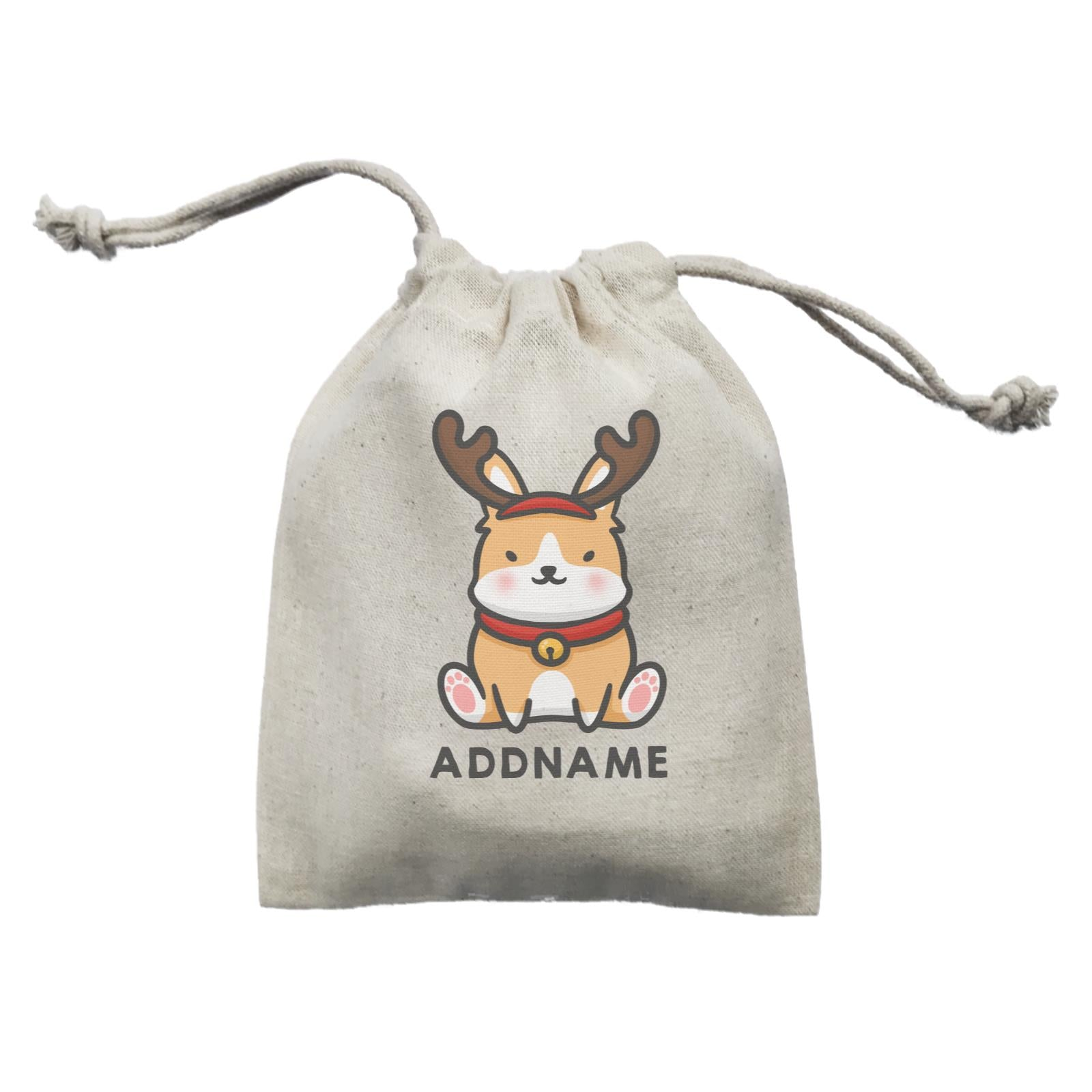 Xmas Cute Dog With Reindeer Antlers Addname Mini Accessories Mini Pouch