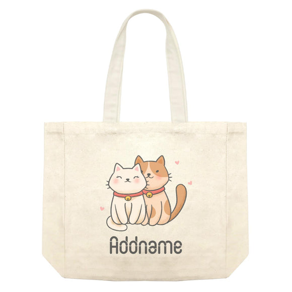 Cute Hand Drawn Style Couple Cat Addname Shopping Bag
