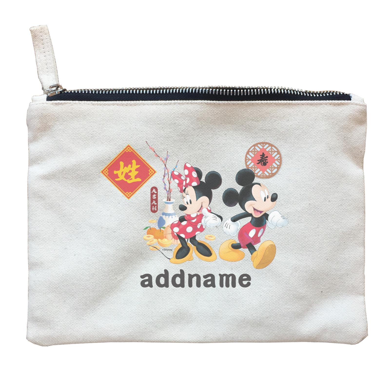 Disney CNY Mickey and Minnie With Prosperity Elements Personalised ZP Zipper Pouch