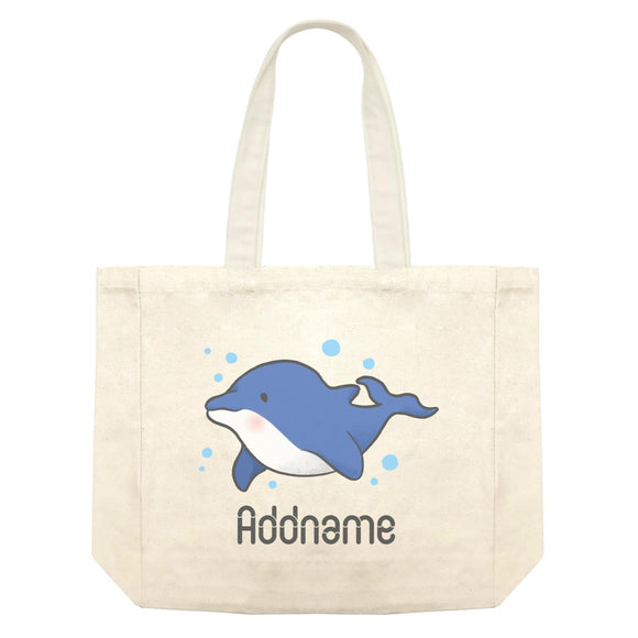 Cute Hand Drawn Style Dolphin Addname Shopping Bag