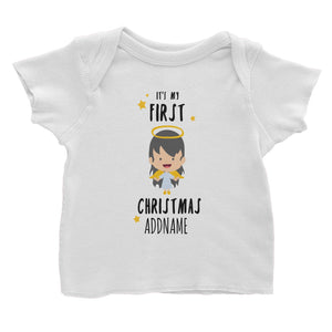 Cute Girl Angel First Christmas Addname Baby T-Shirt  Personalizable Designs