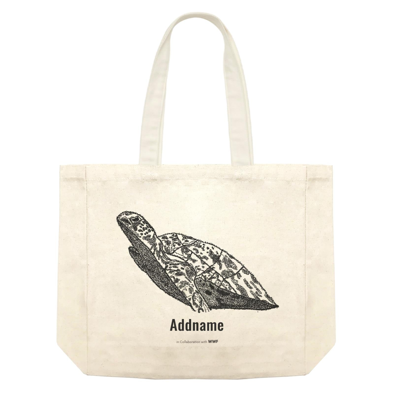 Hand Written Animals Sea Turtle By ArtC Addname Shopping Bag