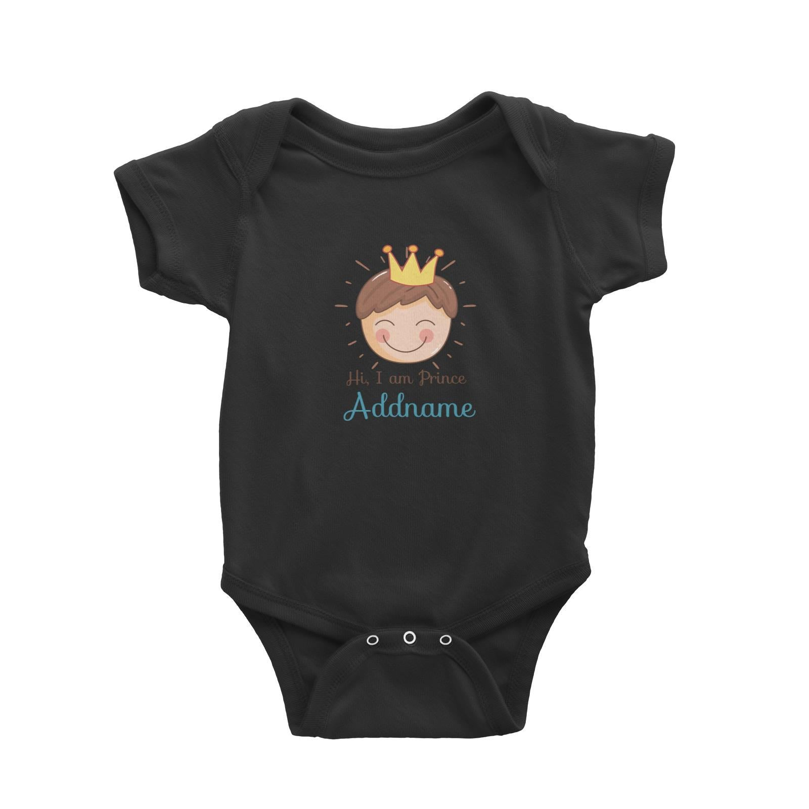 Babywears.my Cute Prince with Crown Hi I Am Prince Addname T-Shirt Personalizable Designs Newborn For Boys