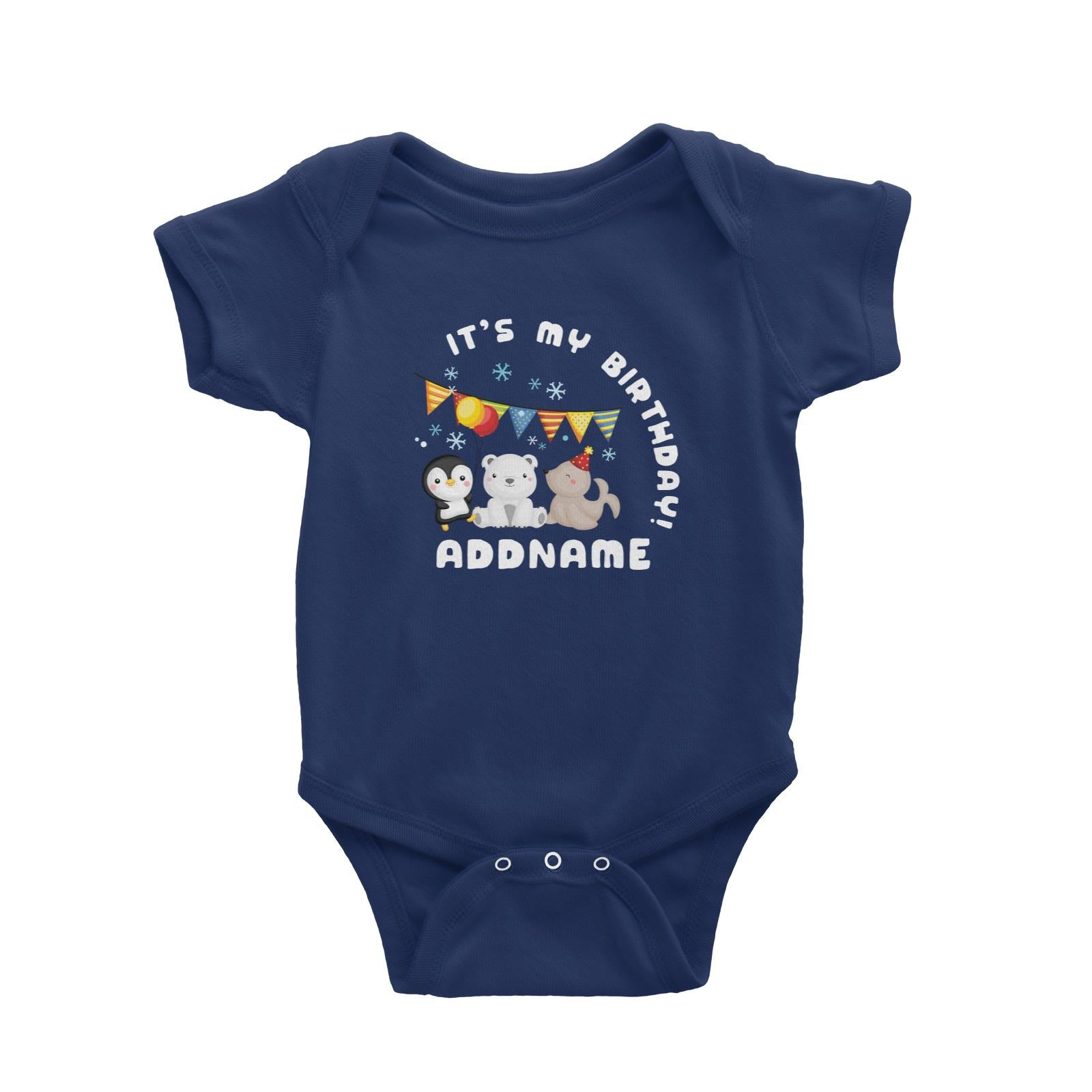 Birthday Winter Animals Penguin Polar Bear And Seal Party It's My Birthday Addname Baby Romper