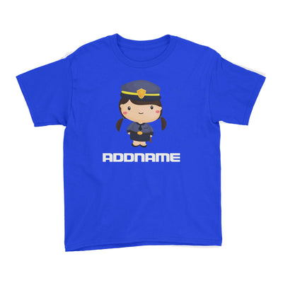 Birthday Police Officer Long Twin Pony Tails Girl In Suit Addname Kid's T-Shirt