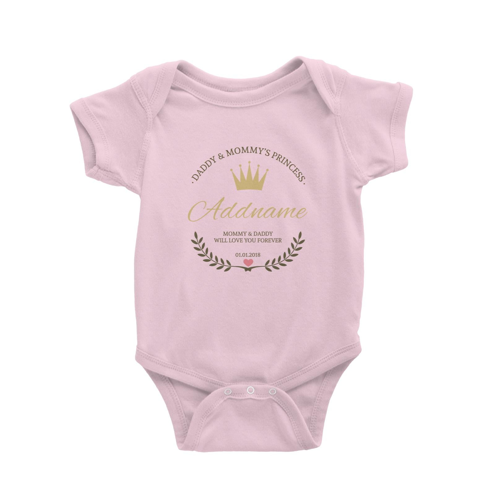 Daddy and Mommy's Princess with Tiara Wreath Personazliable with Name Text and Date Baby Romper