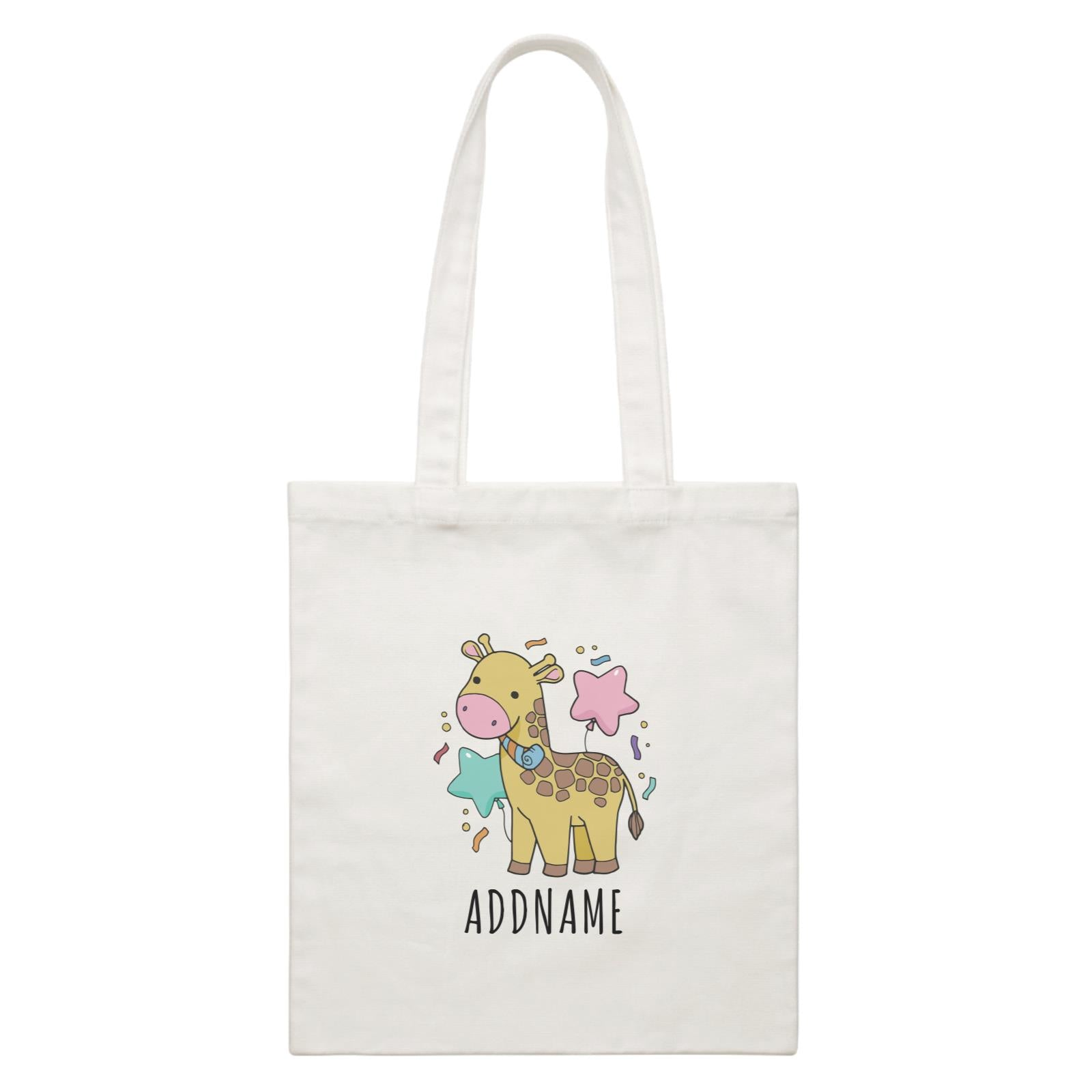 Birthday Sketch Animals Giraffe with Party Horn Addname White Canvas Bag