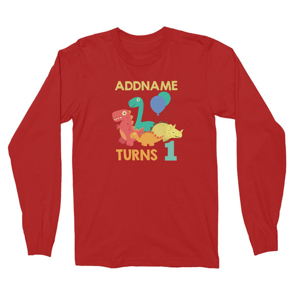 Cute Dinosaur Birthday Theme Personalizable with Name and Date Long Sleeve Unisex T-Shirt