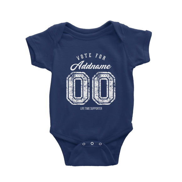 Life Time Supporter Vote Personalizable with Name and Number Baby Romper