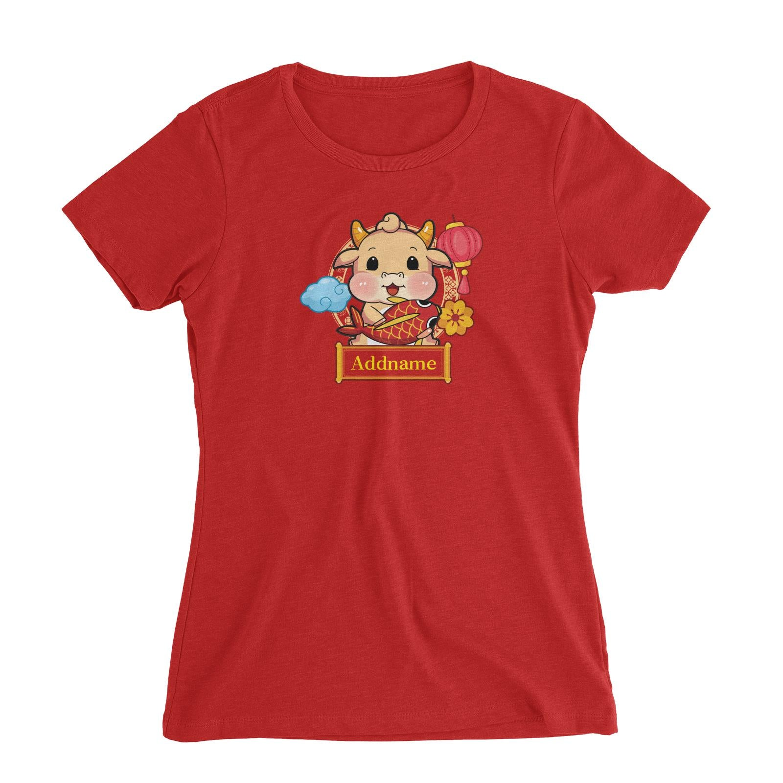 [CNY 2021] Golden Cow with Koi Fish Women's Slim Fit T-Shirt