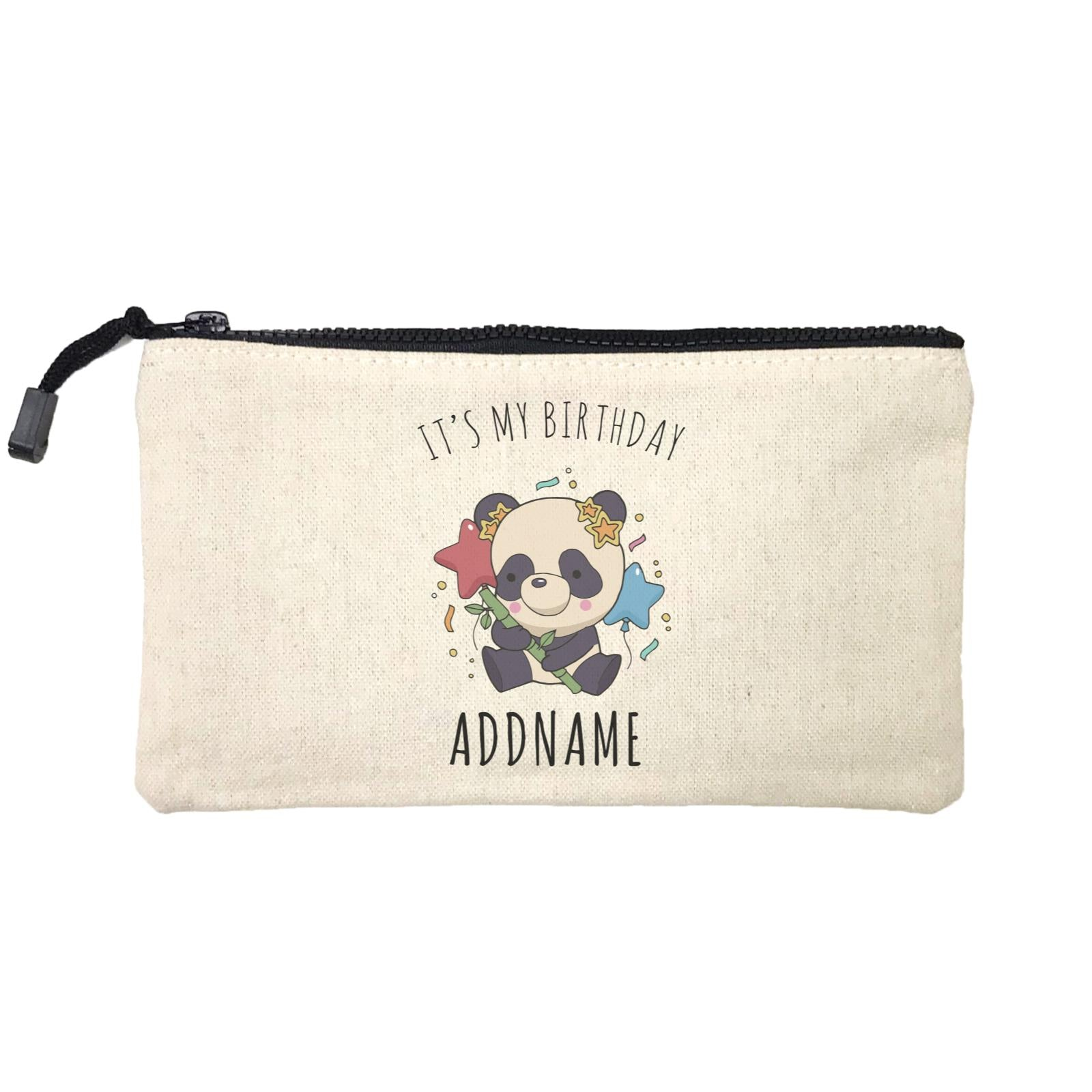 Birthday Sketch Animals Panda with Party Hat Holding Bamboo It's My Birthday Addname Mini Accessories Stationery Pouch