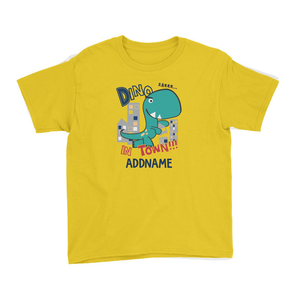 Cool Vibrant Series Dino In Town Addname Kid's T-Shirt